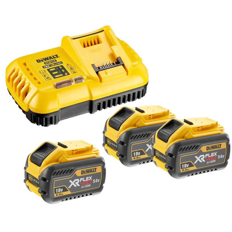 Зарядное устройство и 3 аккумулятора XR FLEXVOLT DCB547 9Ач DeWALT DCB118X3
