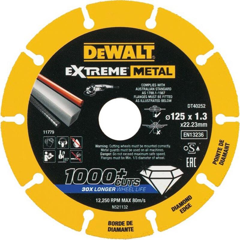 Диск алмазный диаметром 125 мм толщина 1.3 мм диаметр посадочного отверствия 22.23 мм DeWALT DT40252