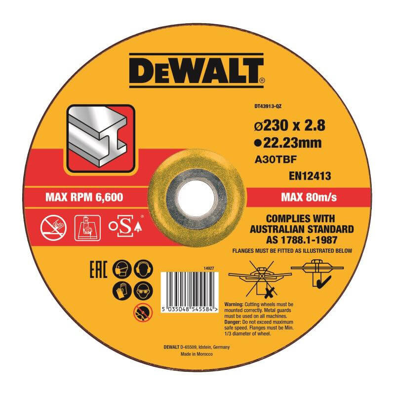 Круг отрезной по металлу 230х3.0х22.23 мм DeWALT DT43913