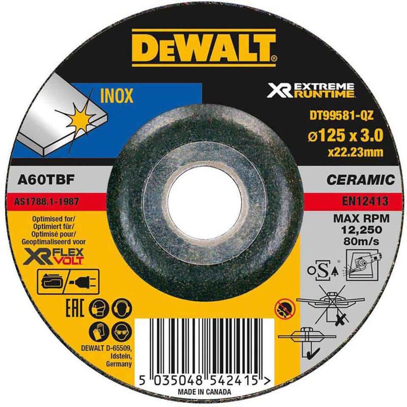 Круг шлифовальный по металлу XR INOX 125 х 3 х 22.23 мм DeWALT DT99581