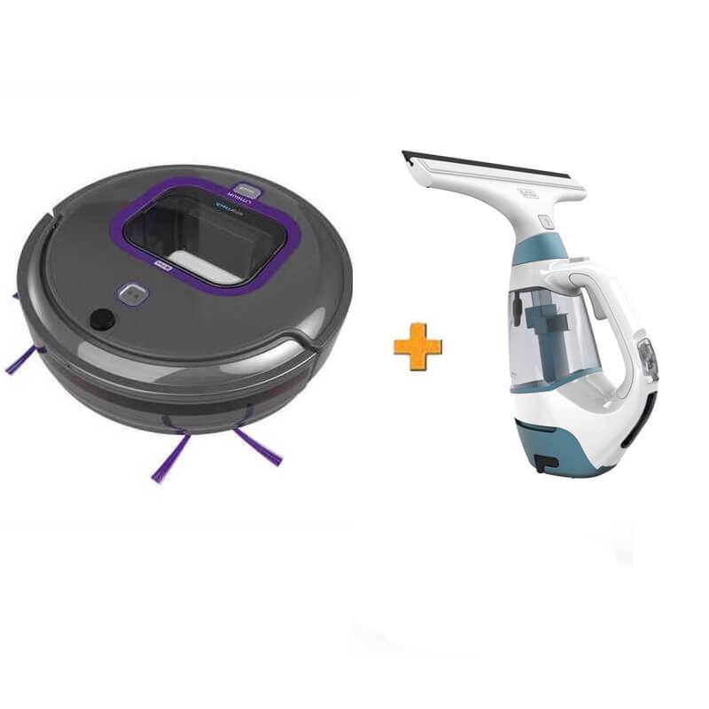 Робот-пылесос + подарок пылесос для мытья окон BLACK+DECKER RVA420BP+WW100