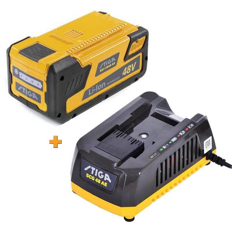 Аккумулятор Li-Ion 48В 2.5Ач + зарядное устройство STIGA SBT2548AE+SCG48AE