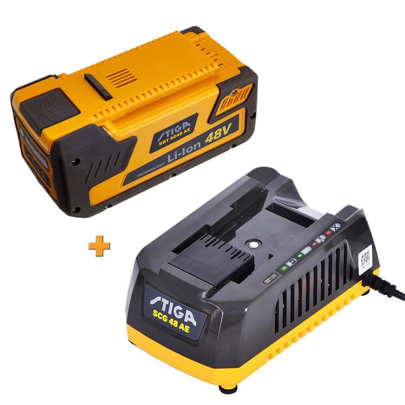 Аккумулятор 48В 5Ач + зарядное устройство STIGA SBT5048AE+SCG48AE